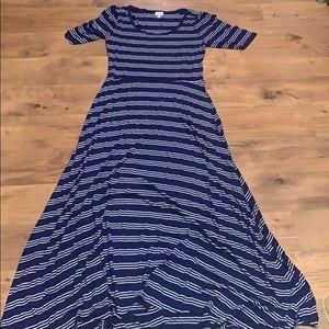 Lularoe blue and white striped Ana